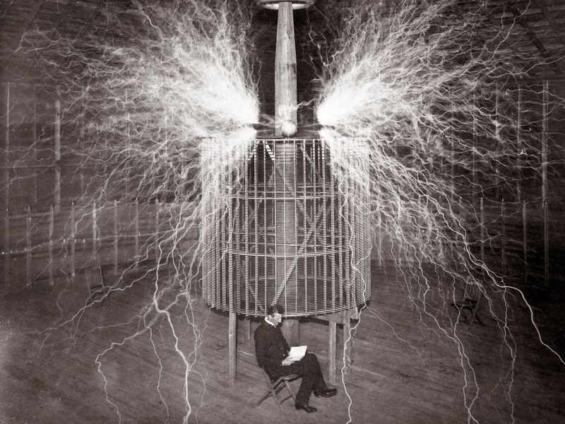 Nikola Tesla with electric bolts